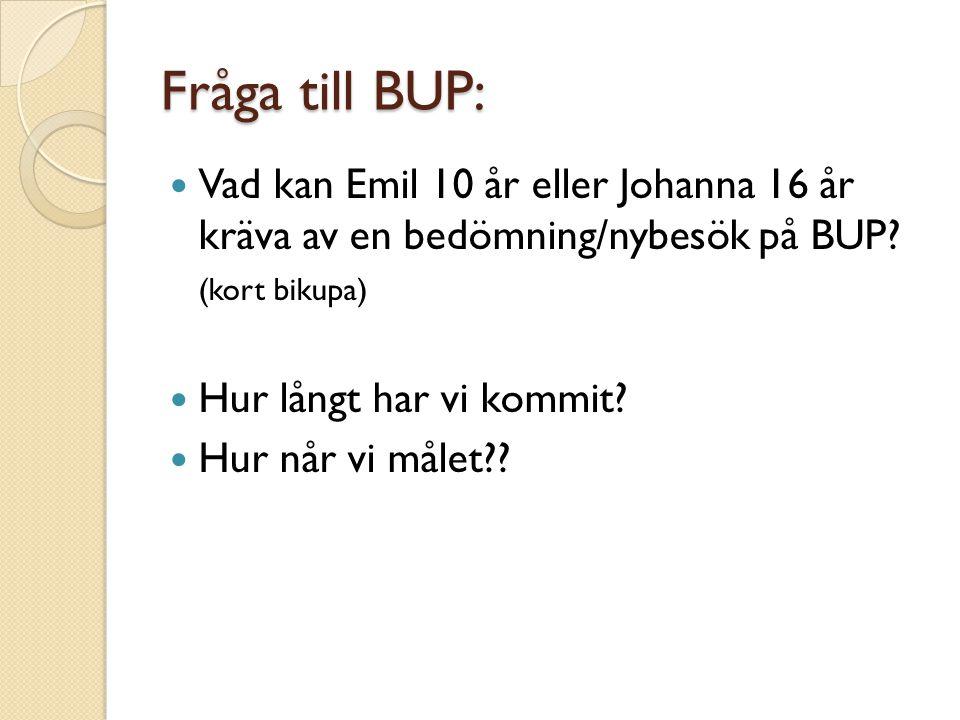 Fråga till BUP: Vad kan Emil 10 år eller Johanna 16 år kräva av en bedömning/nybesök på BUP (kort bikupa)