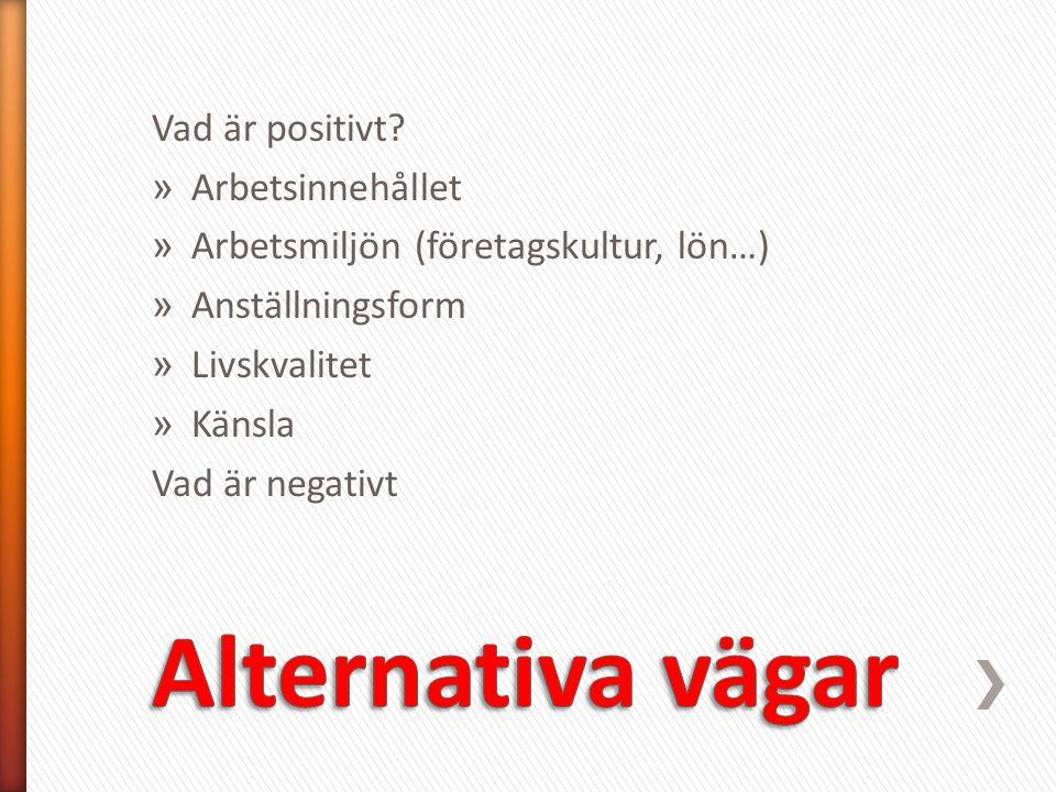 Alternativa vägar Vad är positivt Arbetsinnehållet
