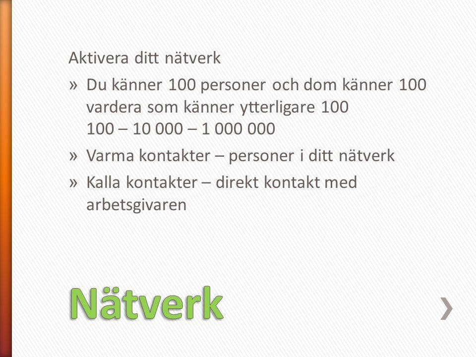 Nätverk Aktivera ditt nätverk