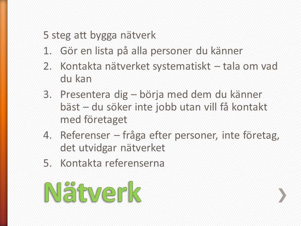 Nätverk 5 steg att bygga nätverk