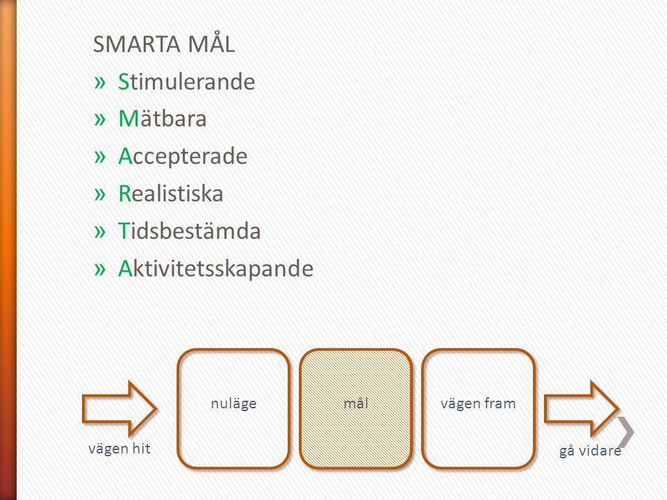 SMARTA MÅL Stimulerande Mätbara Accepterade Realistiska Tidsbestämda