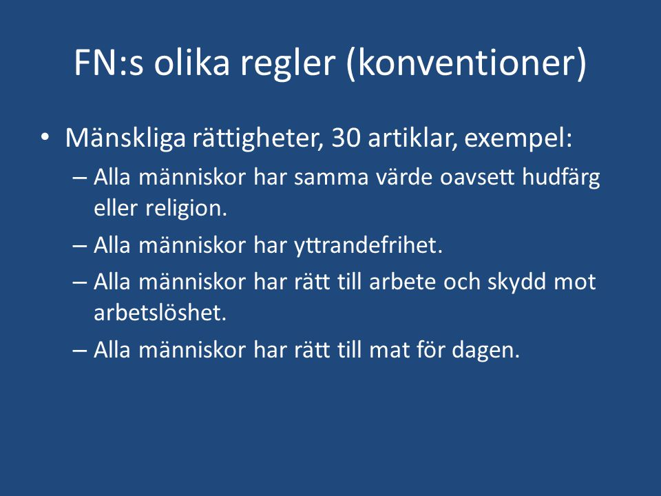 FN:s olika regler (konventioner)