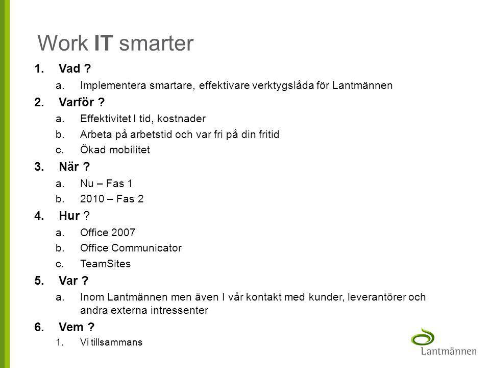 Work IT smarter Vad Varför När Hur Var Vem