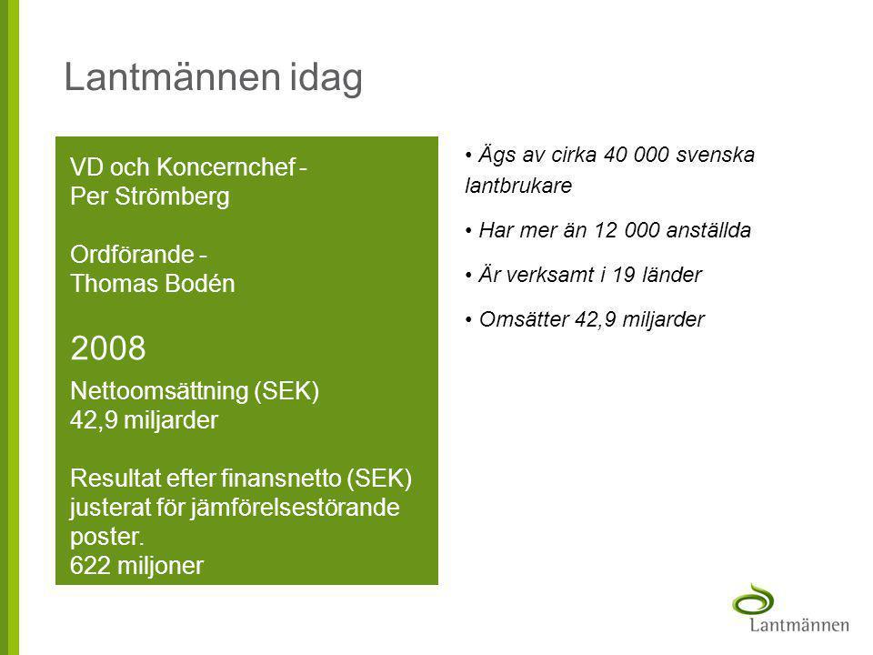 Lantmännen idag 2008 VD och Koncernchef - Per Strömberg Ordförande -