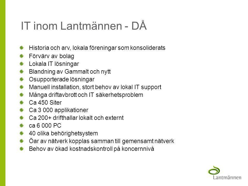 IT inom Lantmännen - DÅ Historia och arv, lokala föreningar som konsoliderats. Förvärv av bolag. Lokala IT lösningar.