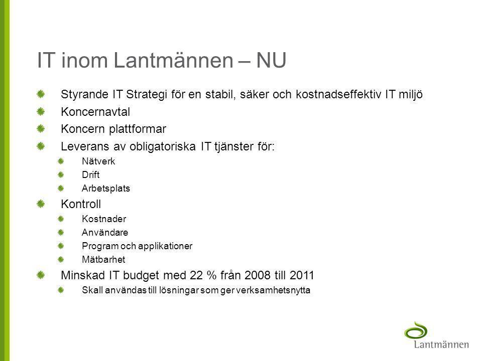 IT inom Lantmännen – NU Styrande IT Strategi för en stabil, säker och kostnadseffektiv IT miljö. Koncernavtal.