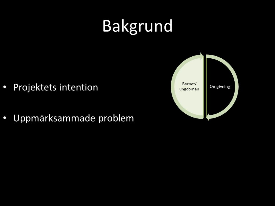Bakgrund Projektets intention Uppmärksammade problem Barnet/ ungdomen