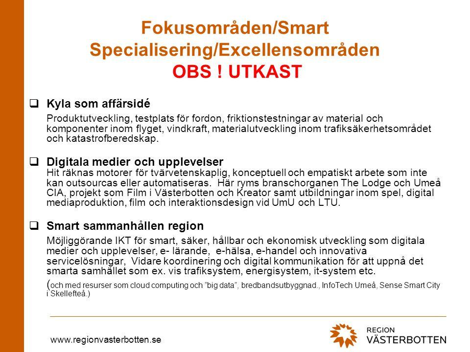 Fokusområden/Smart Specialisering/Excellensområden OBS ! UTKAST