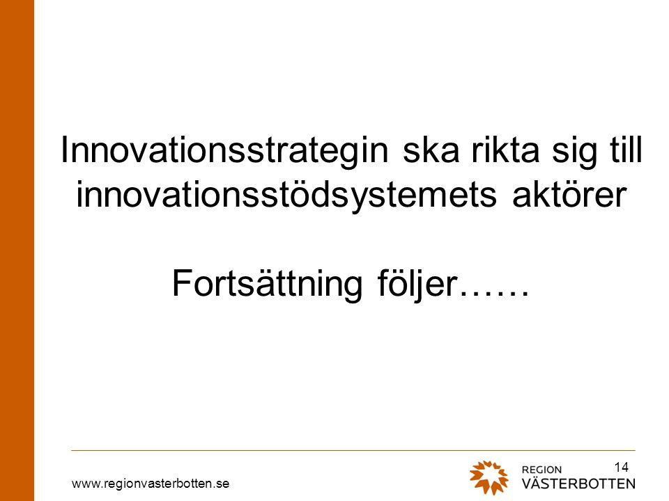 Innovationsstrategin ska rikta sig till innovationsstödsystemets aktörer Fortsättning följer……