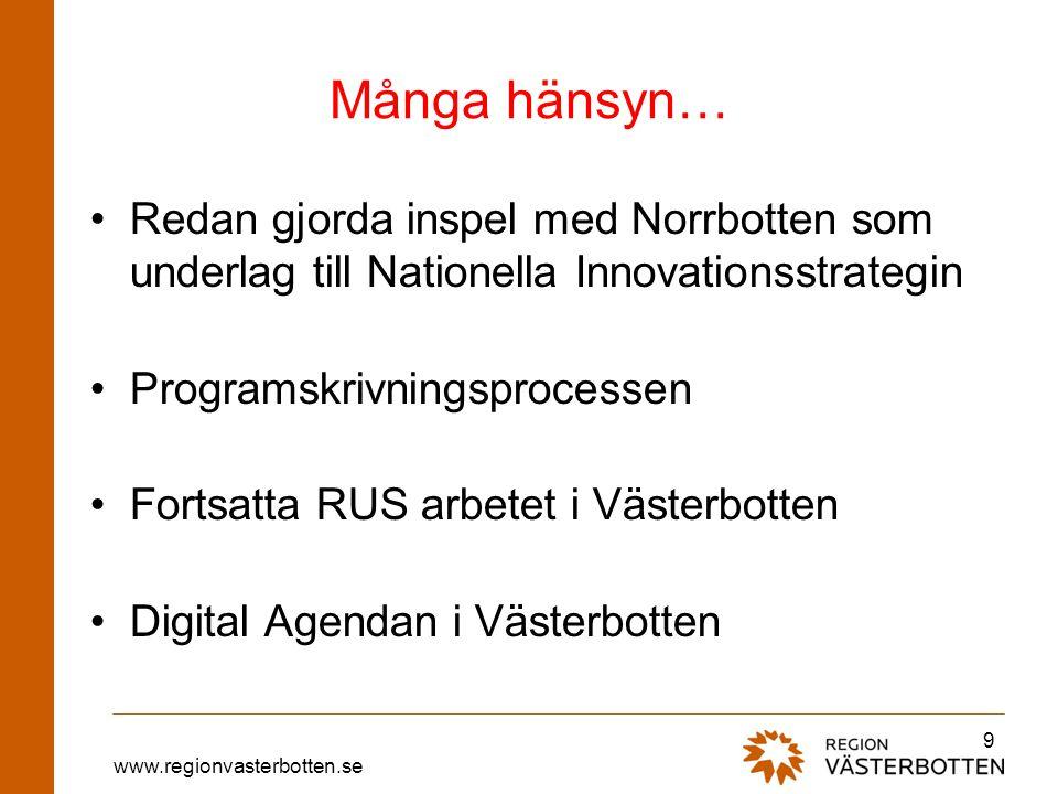 Många hänsyn… Redan gjorda inspel med Norrbotten som underlag till Nationella Innovationsstrategin.