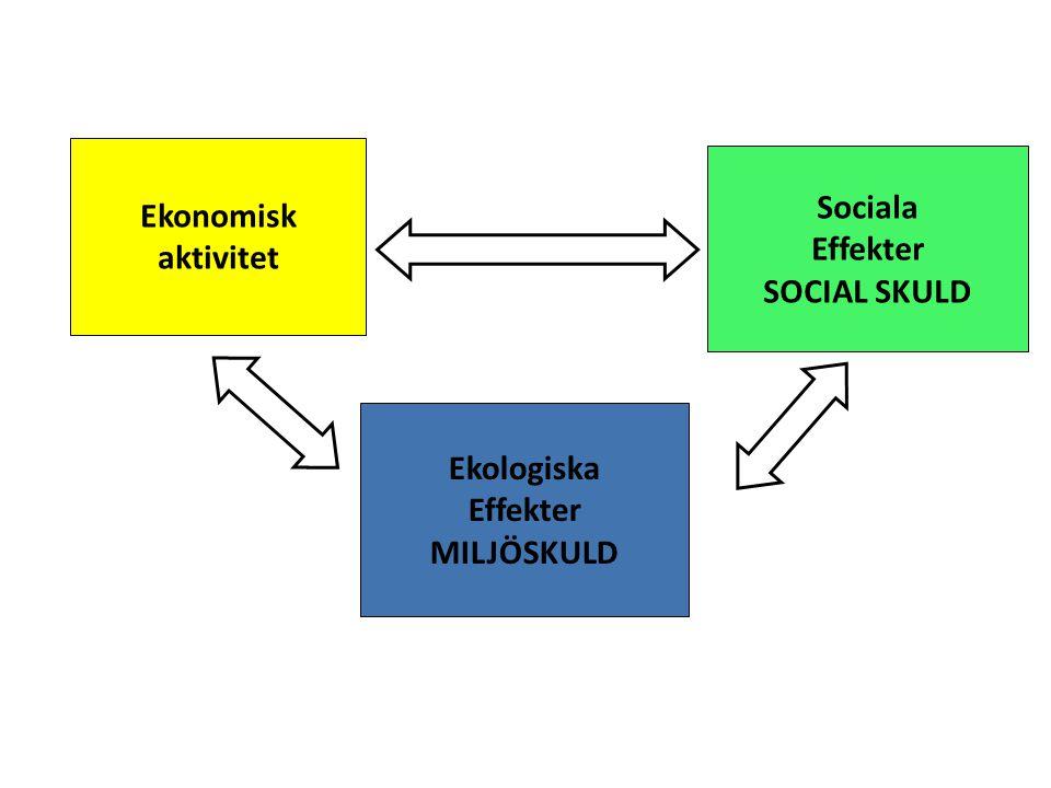 Ekonomisk aktivitet Sociala Effekter SOCIAL SKULD Ekologiska Effekter