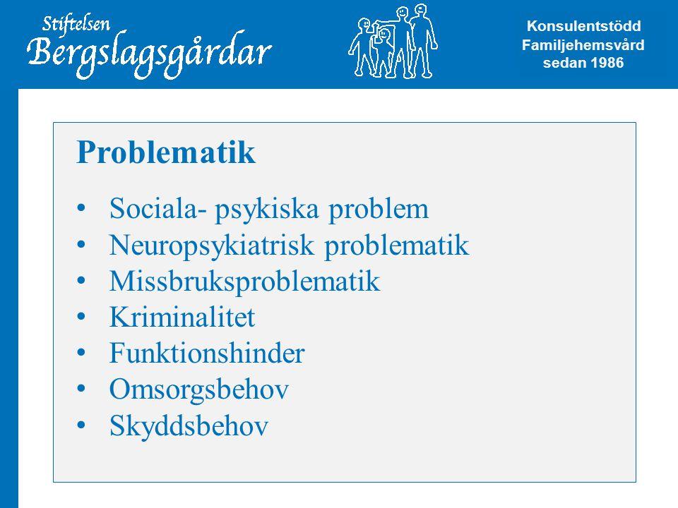 Problematik Sociala- psykiska problem Neuropsykiatrisk problematik