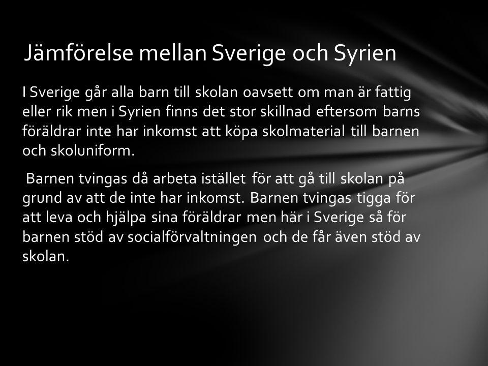 Jämförelse mellan Sverige och Syrien