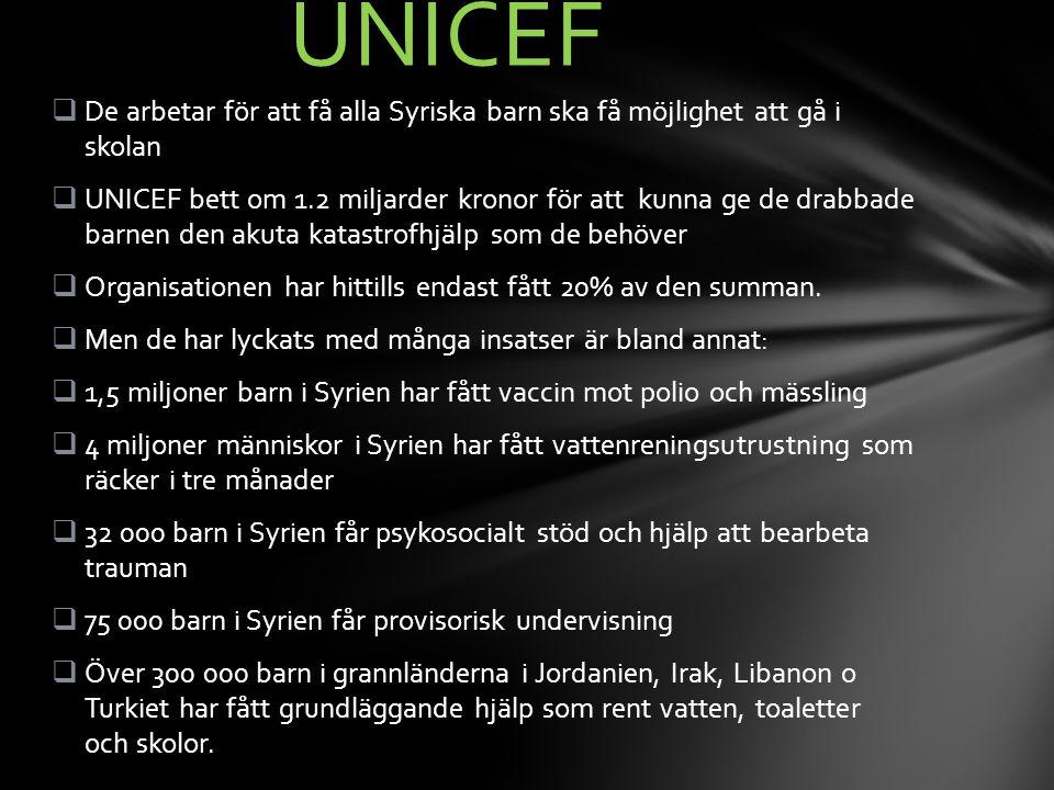 UNICEF De arbetar för att få alla Syriska barn ska få möjlighet att gå i skolan.