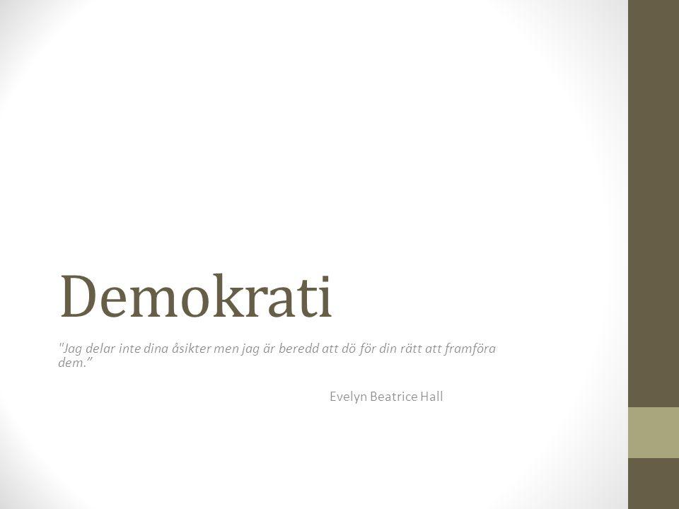 Demokrati Jag delar inte dina åsikter men jag är beredd att dö för din rätt att framföra dem. Evelyn Beatrice Hall.