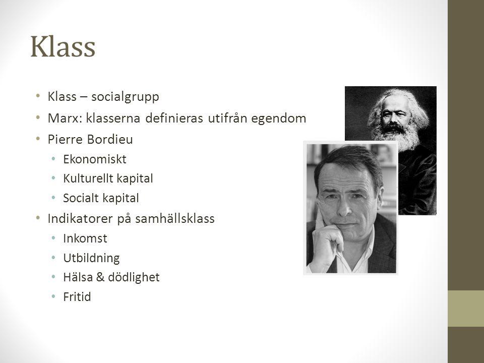 Klass Klass – socialgrupp Marx: klasserna definieras utifrån egendom