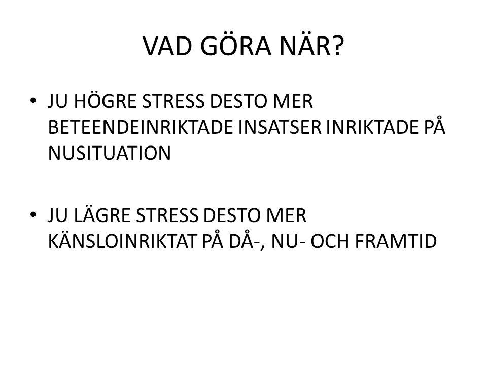 VAD GÖRA NÄR JU HÖGRE STRESS DESTO MER BETEENDEINRIKTADE INSATSER INRIKTADE PÅ NUSITUATION.