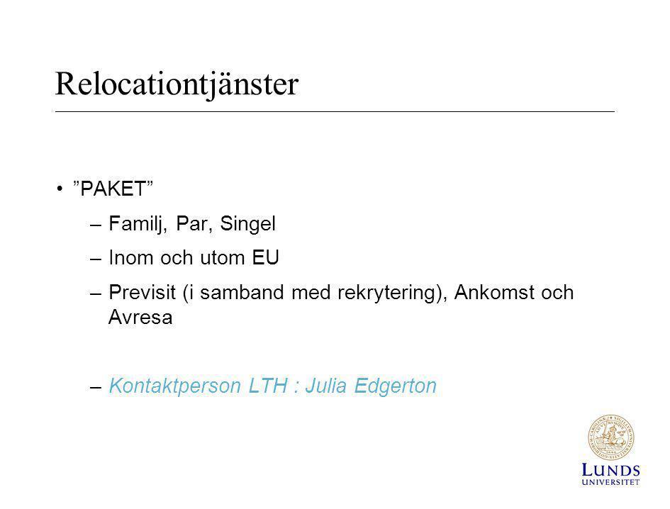 Relocationtjänster PAKET Familj, Par, Singel Inom och utom EU