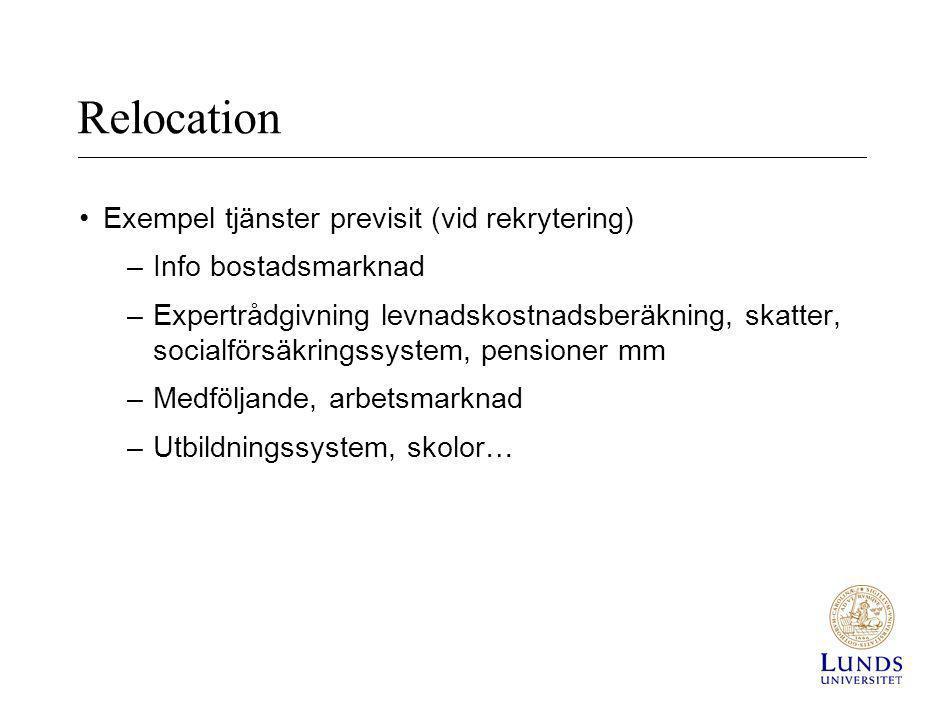 Relocation Exempel tjänster previsit (vid rekrytering)