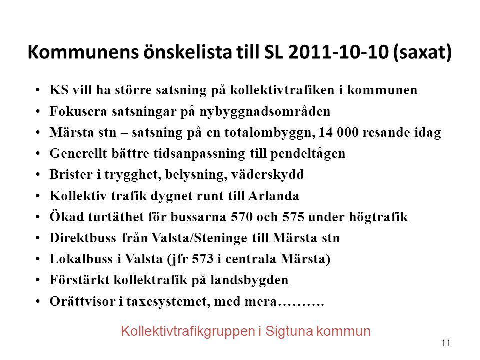 Kommunens önskelista till SL 2011-10-10 (saxat)