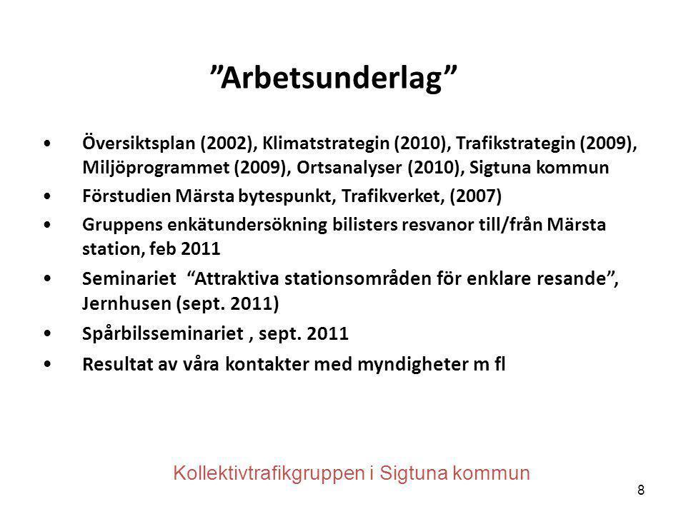 Arbetsunderlag Översiktsplan (2002), Klimatstrategin (2010), Trafikstrategin (2009), Miljöprogrammet (2009), Ortsanalyser (2010), Sigtuna kommun.