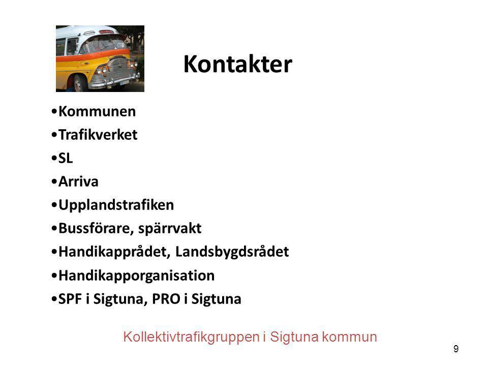 Kontakter Kommunen Trafikverket SL Arriva Upplandstrafiken