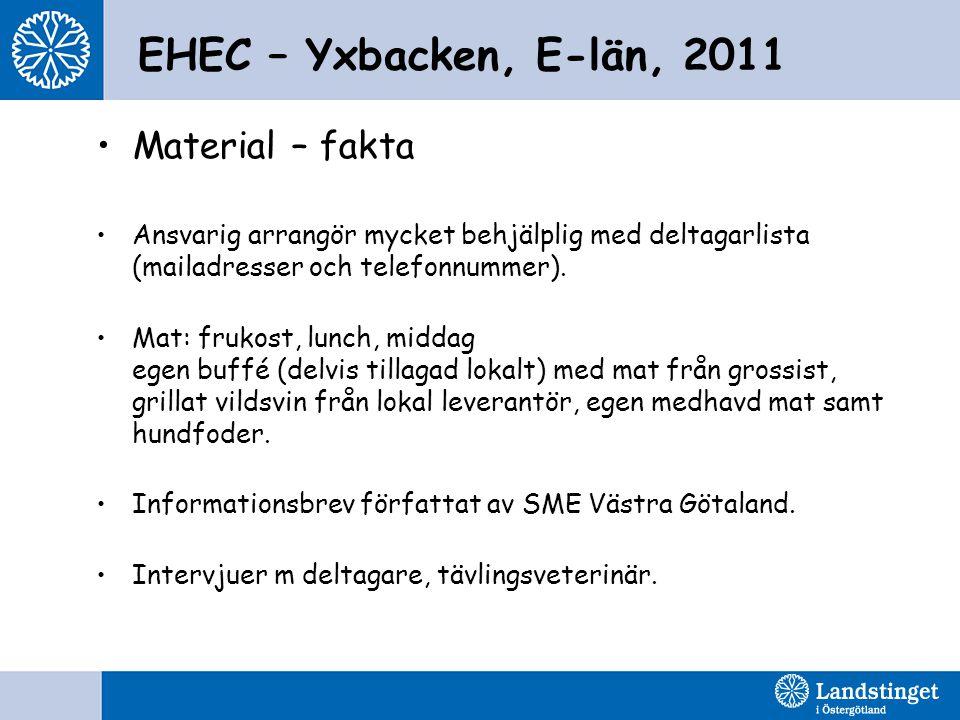 EHEC – Yxbacken, E-län, 2011 Material – fakta