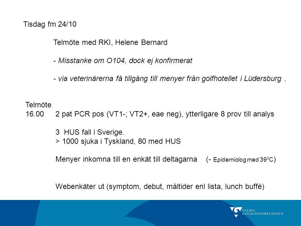 Tisdag fm 24/10 Telmöte med RKI, Helene Bernard. - Misstanke om O104, dock ej konfirmerat.