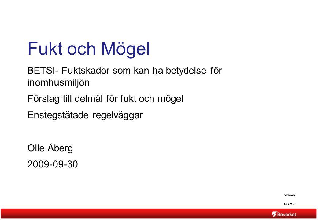 Fukt och Mögel BETSI- Fuktskador som kan ha betydelse för inomhusmiljön. Förslag till delmål för fukt och mögel.