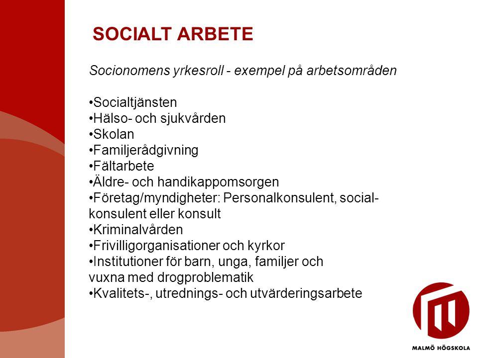 SOCIALT ARBETE Socionomens yrkesroll - exempel på arbetsområden