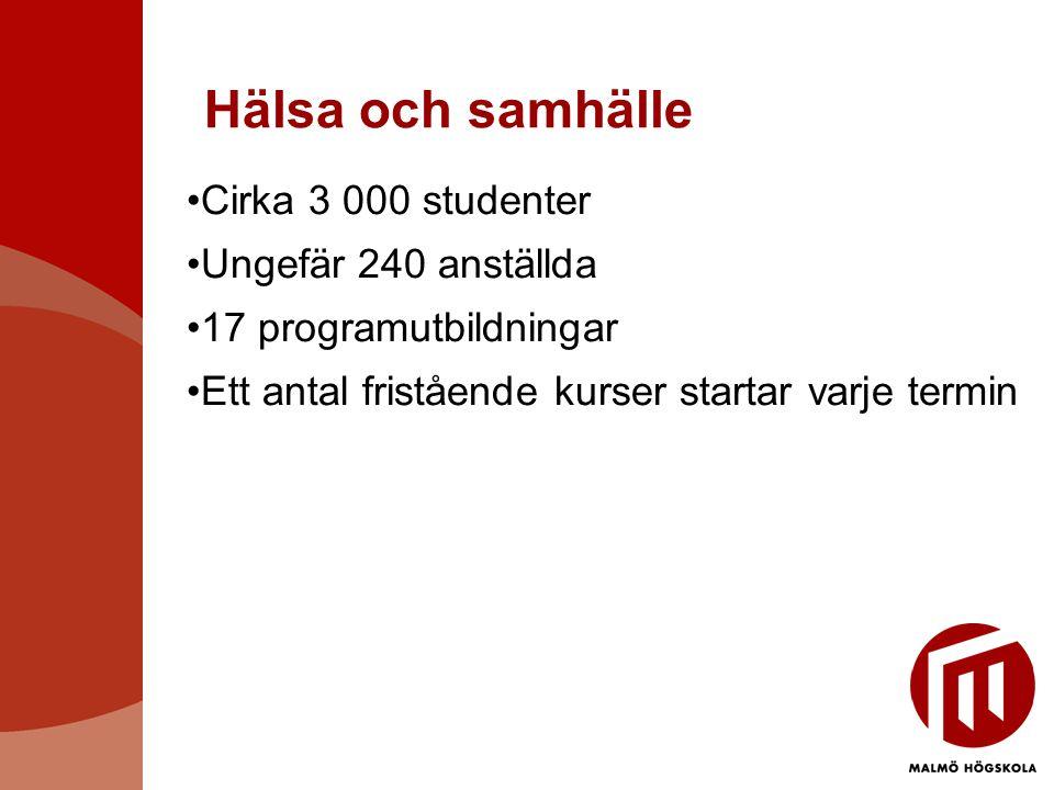 Hälsa och samhälle Cirka 3 000 studenter Ungefär 240 anställda
