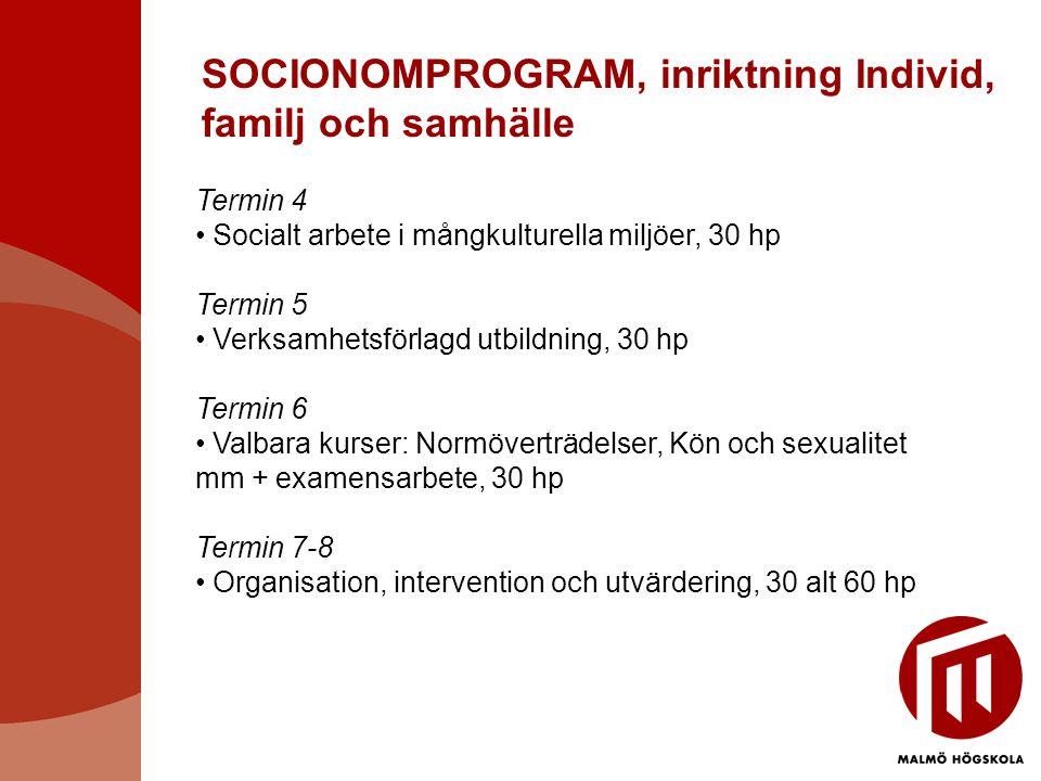 SOCIONOMPROGRAM, inriktning Individ, familj och samhälle