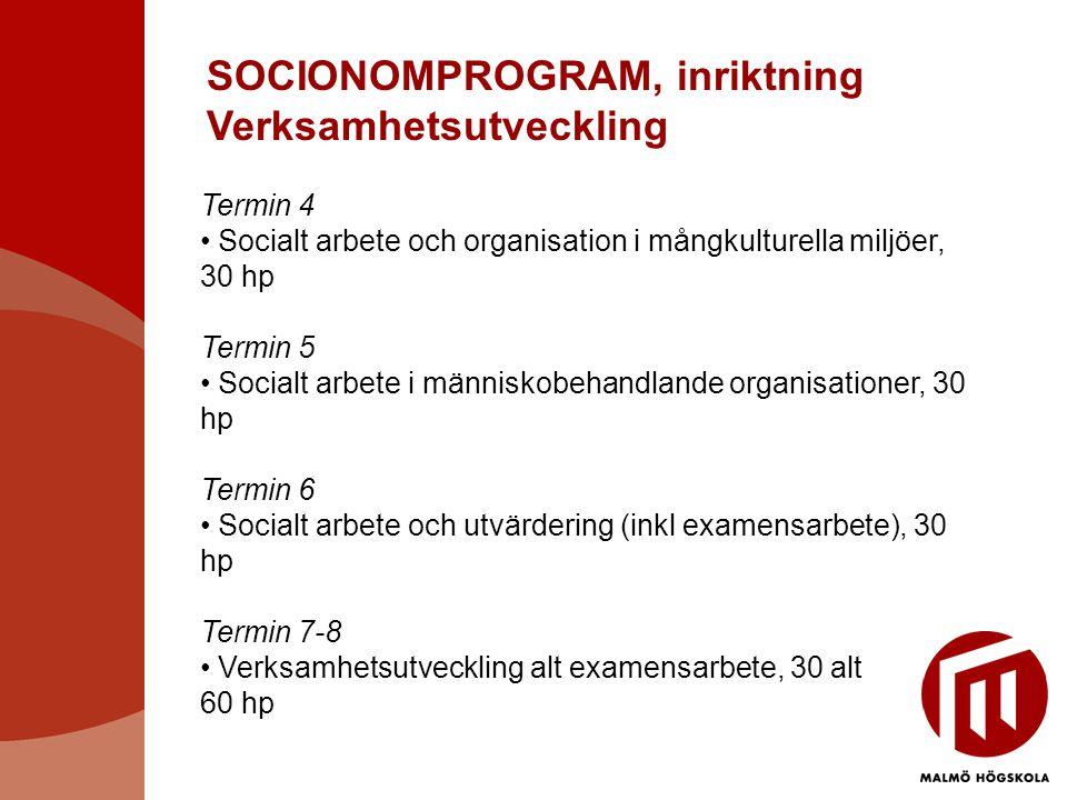 SOCIONOMPROGRAM, inriktning Verksamhetsutveckling