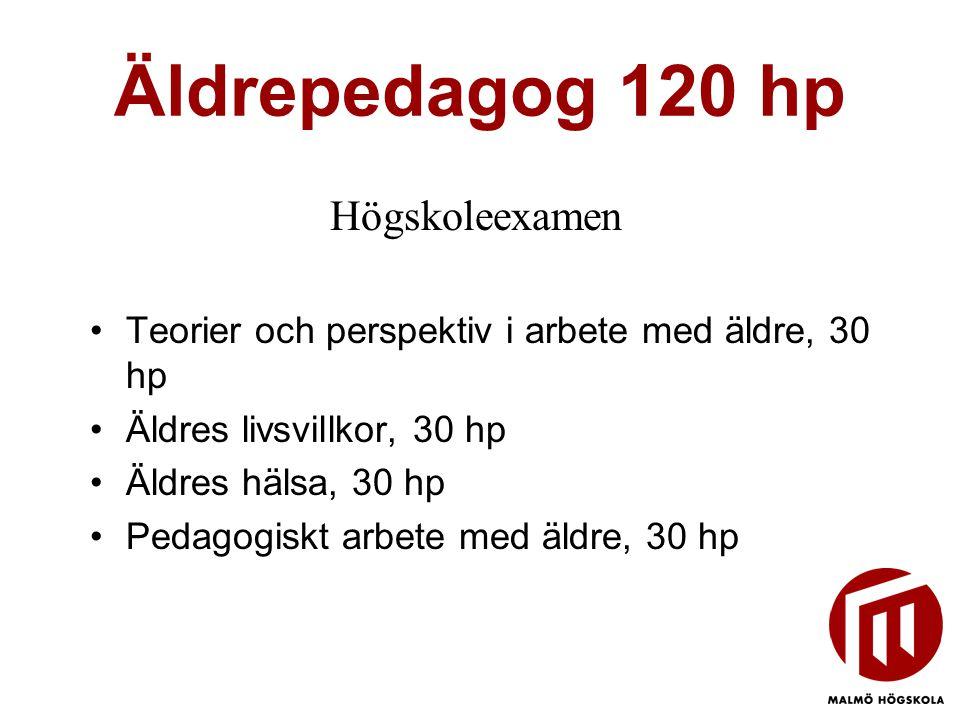 Äldrepedagog 120 hp Högskoleexamen