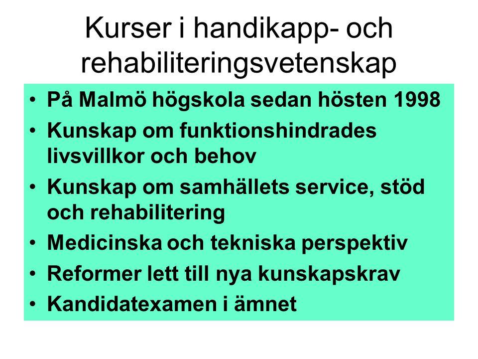 Kurser i handikapp- och rehabiliteringsvetenskap