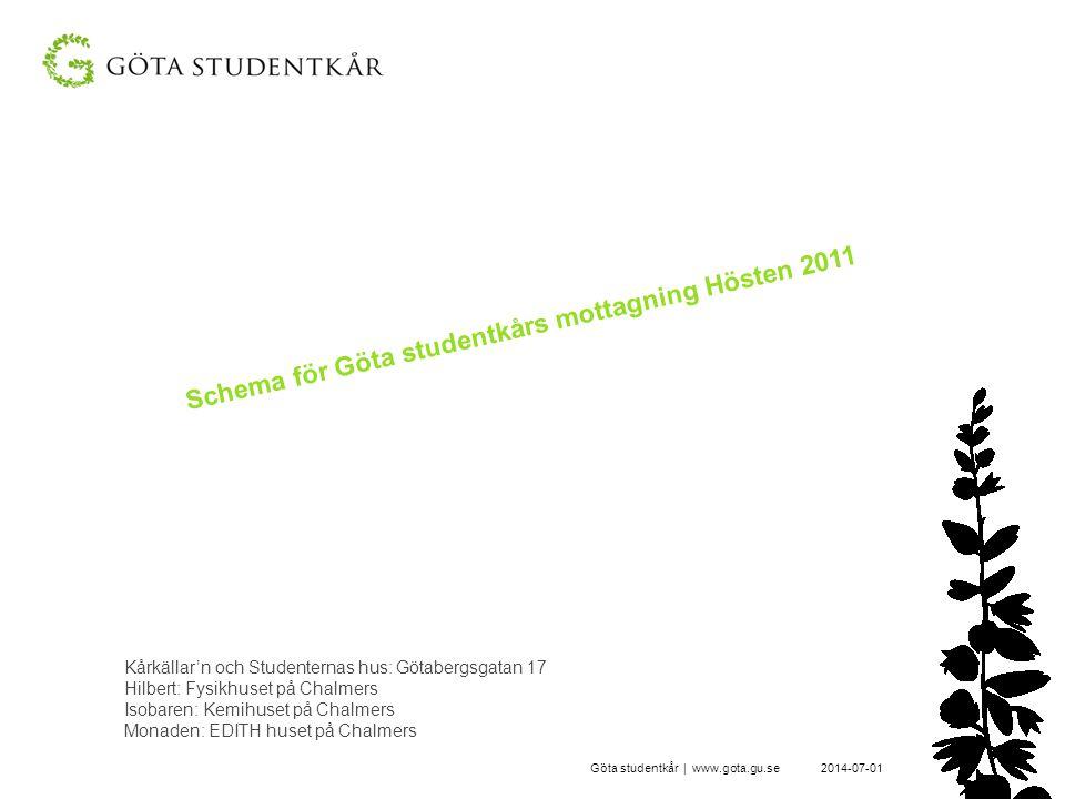 Schema för Göta studentkårs mottagning Hösten 2011