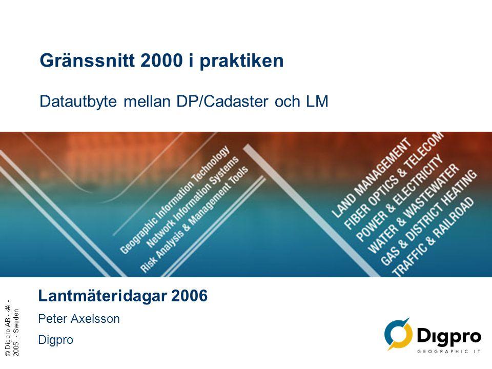 Gränssnitt 2000 i praktiken Datautbyte mellan DP/Cadaster och LM