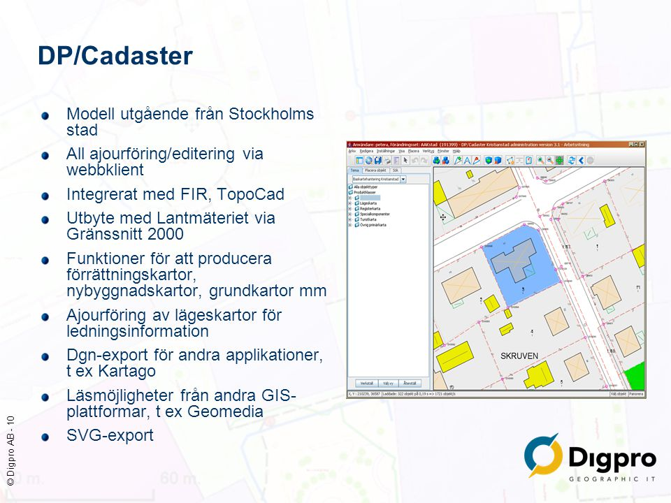 DP/Cadaster Modell utgående från Stockholms stad