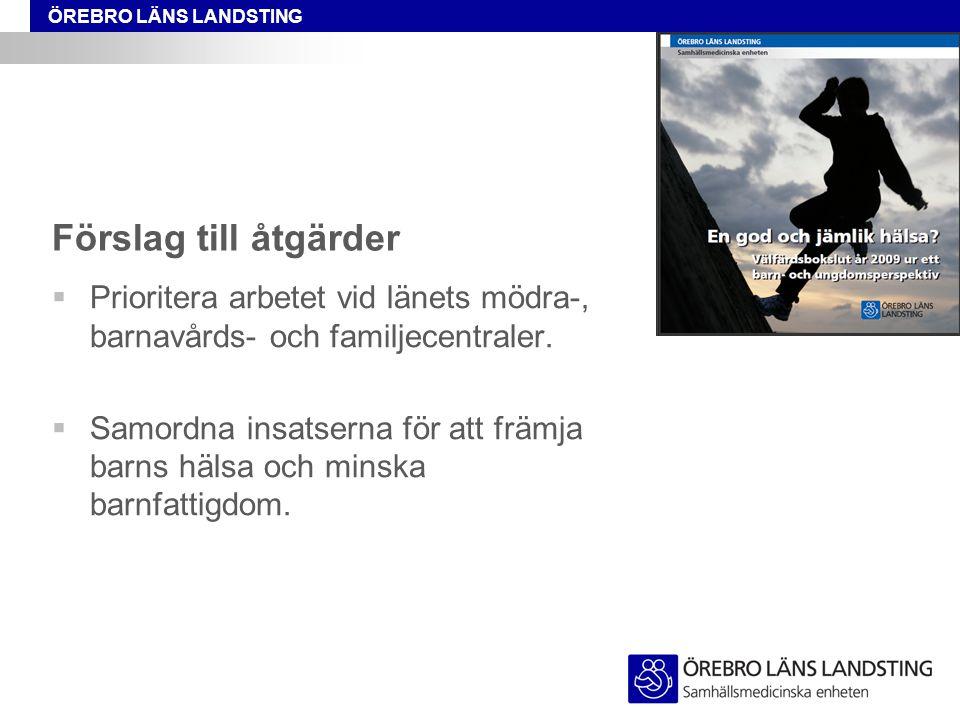 Förslag till åtgärder Prioritera arbetet vid länets mödra-, barnavårds- och familjecentraler.