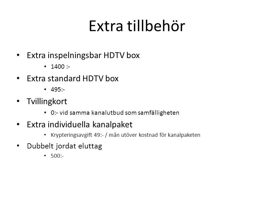 Extra tillbehör Extra inspelningsbar HDTV box Extra standard HDTV box