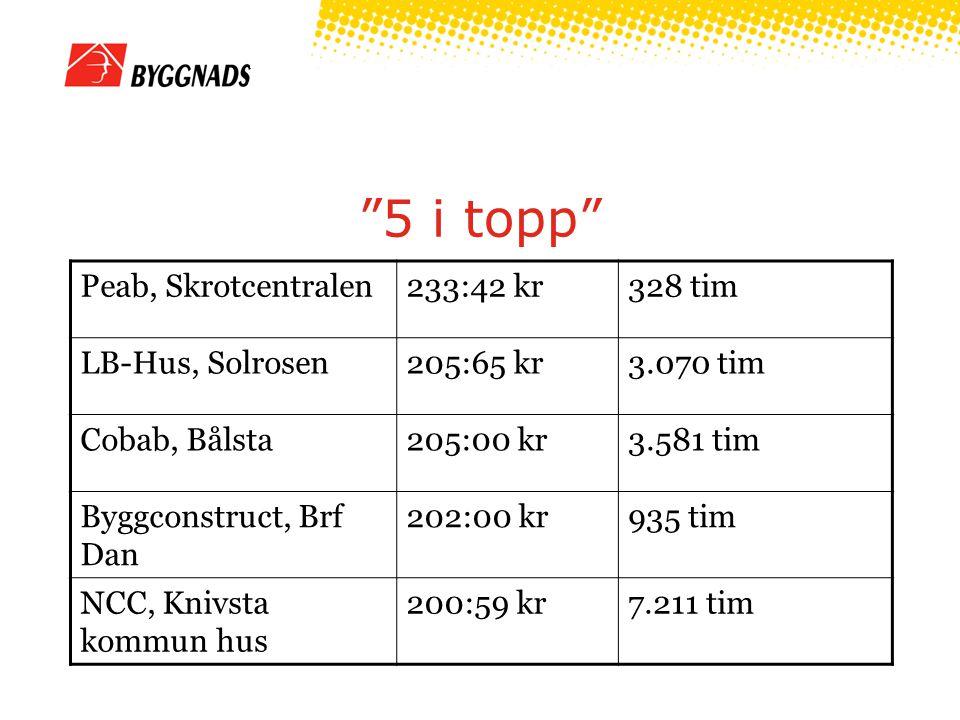 5 i topp Peab, Skrotcentralen 233:42 kr 328 tim LB-Hus, Solrosen