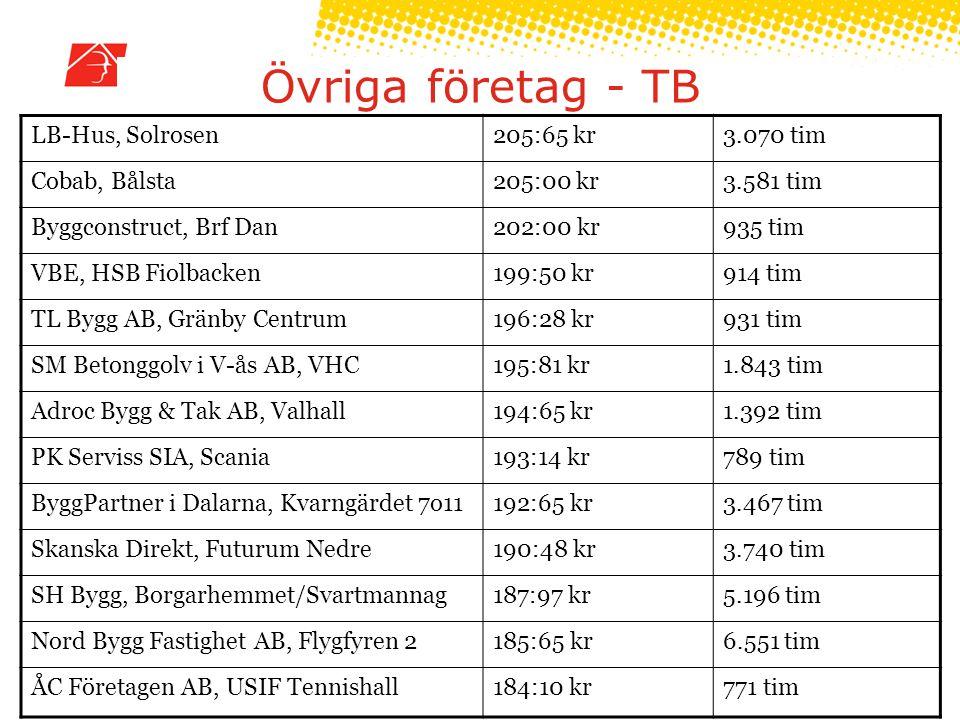 Övriga företag - TB LB-Hus, Solrosen 205:65 kr 3.070 tim Cobab, Bålsta
