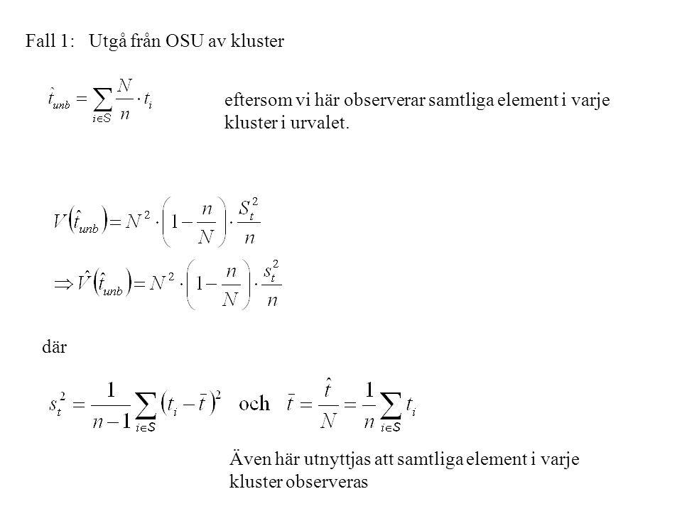 Fall 1: Utgå från OSU av kluster