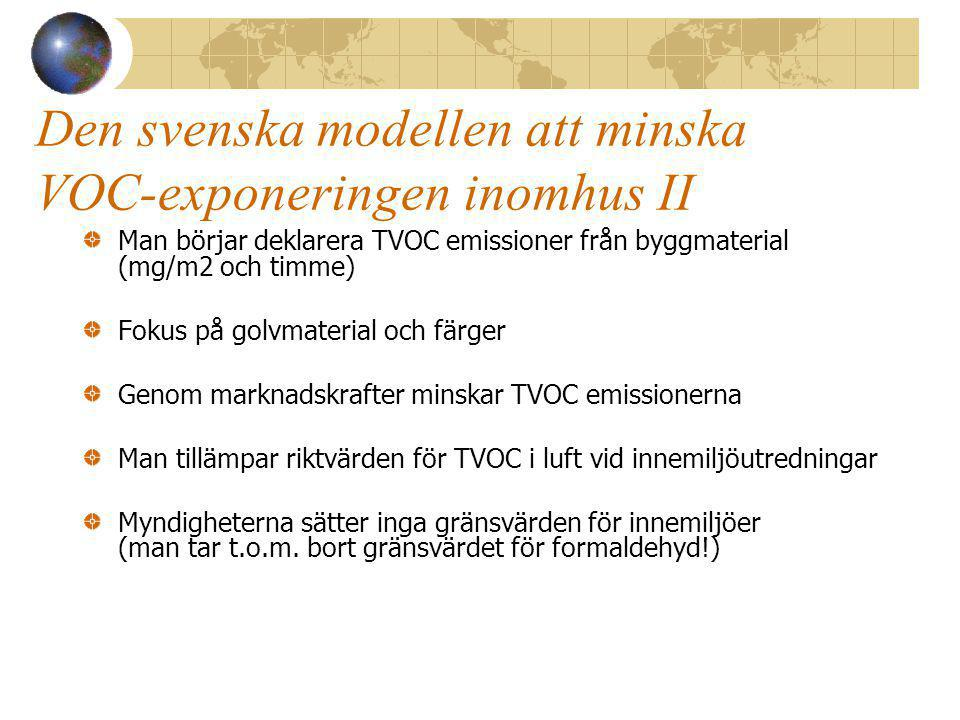 Den svenska modellen att minska VOC-exponeringen inomhus II