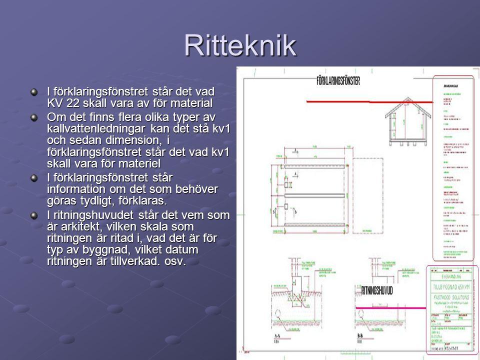 Ritteknik I förklaringsfönstret står det vad KV 22 skall vara av för material.