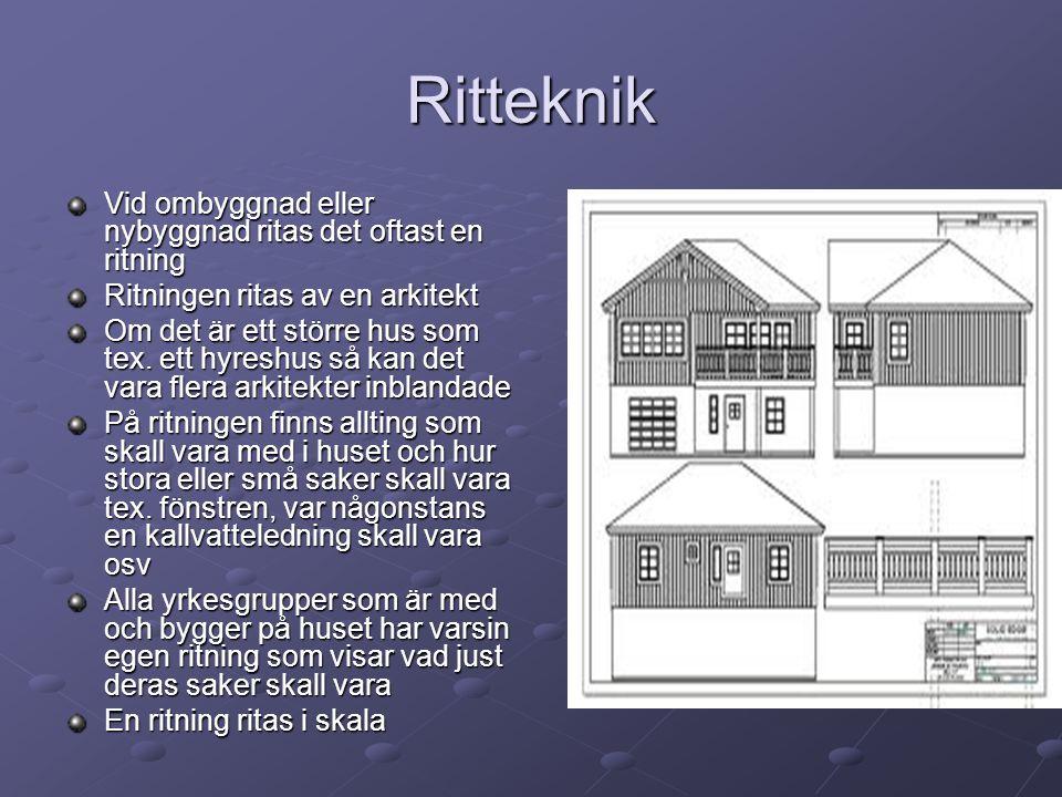 Ritteknik Vid ombyggnad eller nybyggnad ritas det oftast en ritning