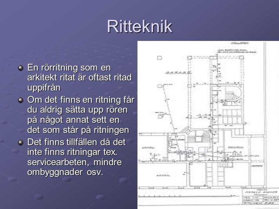 Ritteknik En rörritning som en arkitekt ritat är oftast ritad uppifrån
