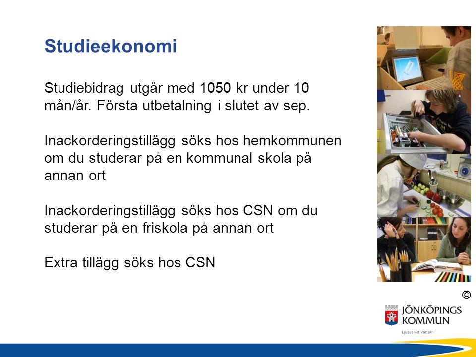 Studieekonomi Studiebidrag utgår med 1050 kr under 10 mån/år. Första utbetalning i slutet av sep.
