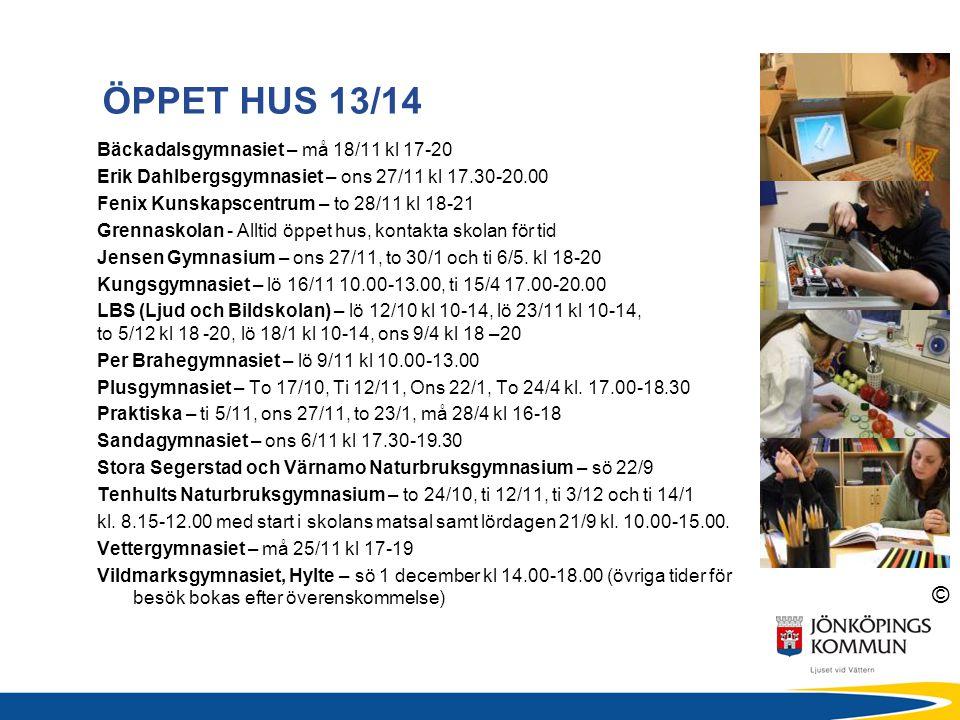 ÖPPET HUS 13/14 Bäckadalsgymnasiet – må 18/11 kl 17-20