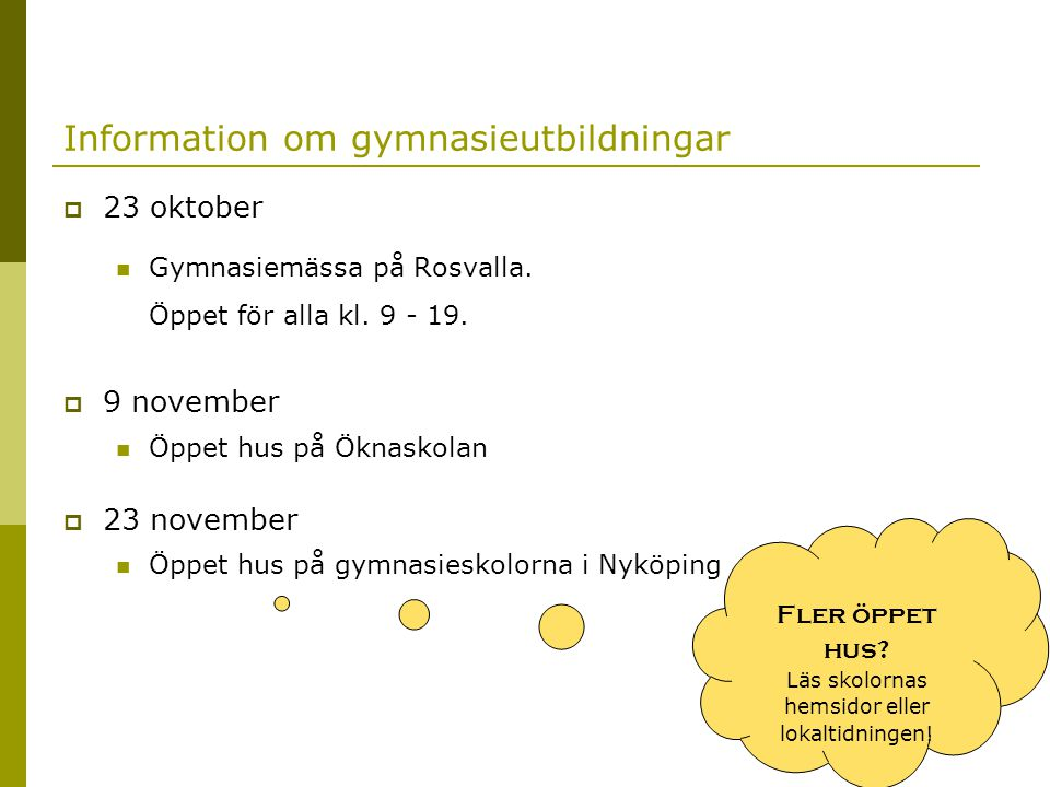 Information om gymnasieutbildningar